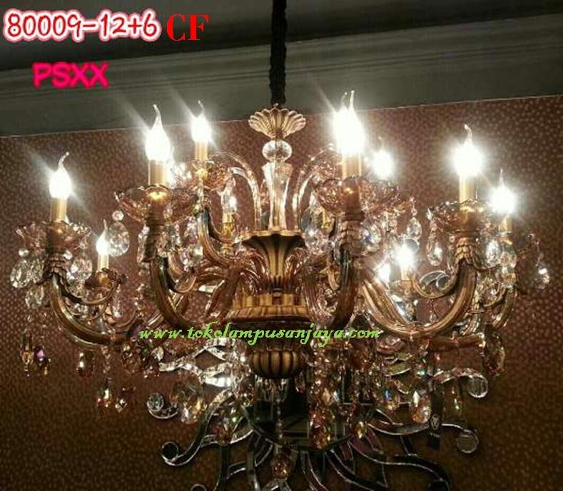 Lampu Gantung Kristal Tipe CF 80009-12+6