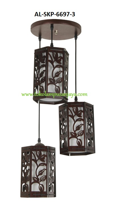 Jual lampu hias gantung plafon cabang 3 Lampu AL-SKP-6697-3